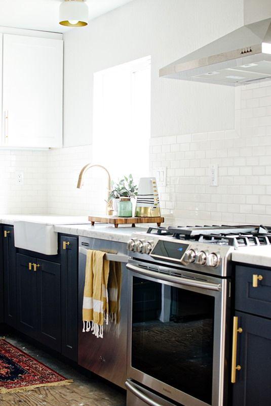 Brass Hardware Charcoal Cabinets Brittanymakes Kitchen