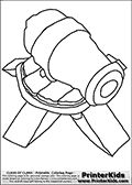 Coloring page with a Cannon from Clash of Clans App. The Cannon is a defensive tower structure that deal area splash damage to ground units within its range. The cannon as it is drawn in this coloring page is level 1 - and not upgaded at all.  Print and color this Clash of Clans page that is drawn by Loke Hansen (http://www.LokeHansen.com) based on a Clash of Clans iPhone 5 App screenshot or game promotion.