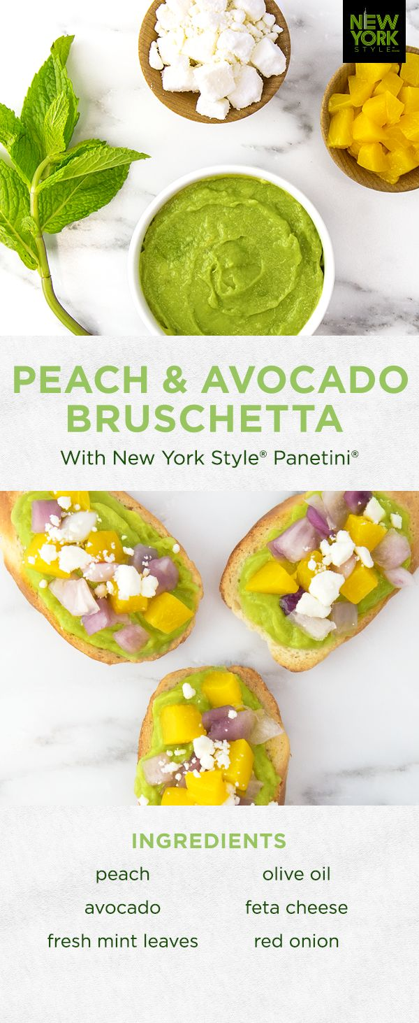 A delicious way to savor the season! Bursting with the flavors and colors of summer, Peach & Avocado Bruschetta atop New York Style® Panetini® is the perfect poolside snack.