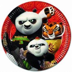 Pratos de cartão descartáveis do tema Kung fu Panda 3 / Kung fu panda 3 Disposable paper plates.