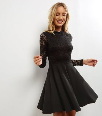 Black Lace Skater Dress    New Look