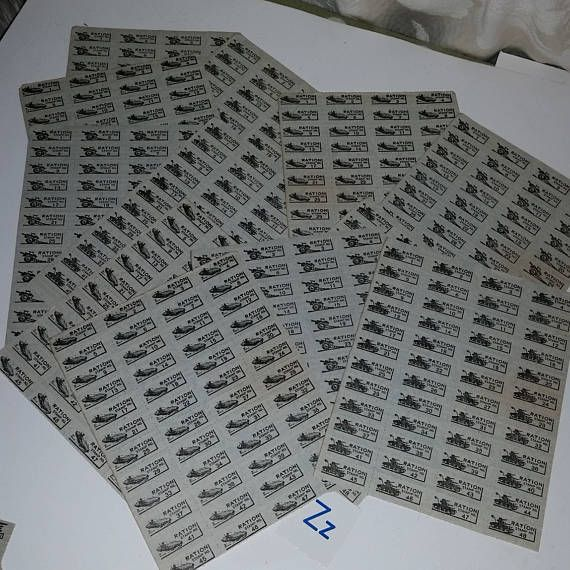 WWII ration stamps 3 full sheets of 48 blue image page of tanks cannon subs Vintage military paper ephemera scrapbooking art supplies