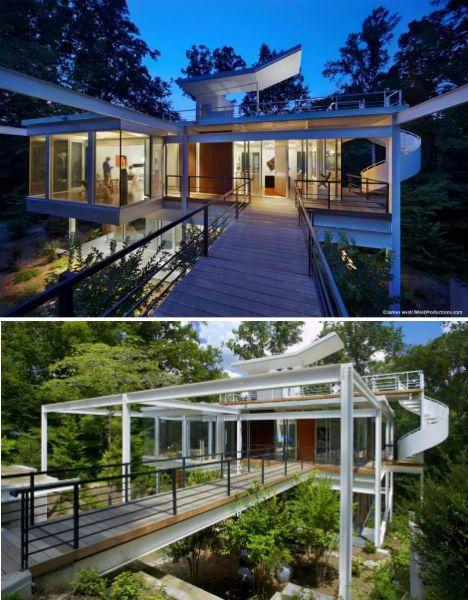 Midcentury Modern Home Features Spiraling Exterior Stairs | Designs & Ideas on Dornob