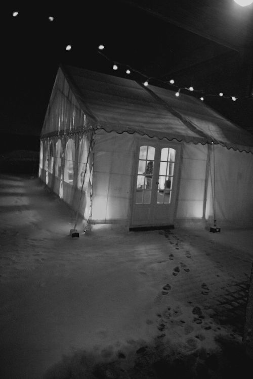 If I have a winter wedding I still want the reception outdoors in a heated tent in the snow with lots of white lights filling the trees and a trail of red rose petals leading up to the tents opening.... :)