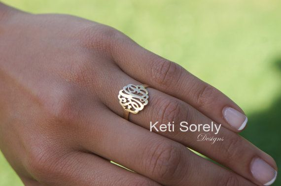 Small Monogram Initials Ring Initials Ring by KetiSorelyDesigns