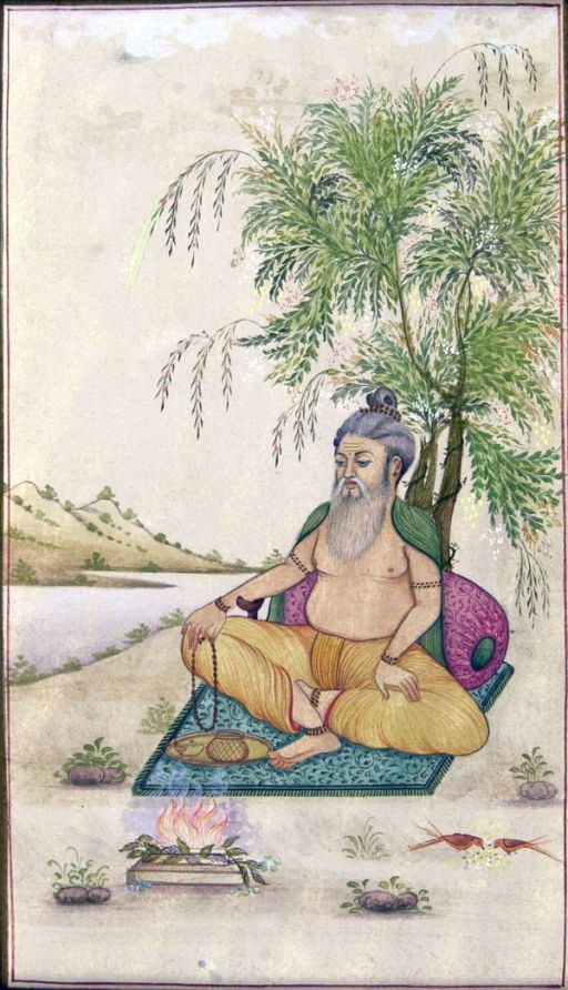 Moghul painting illustrating a man burning neem leaves near a river where biting insects would be present (© Dr Sarah Moore)