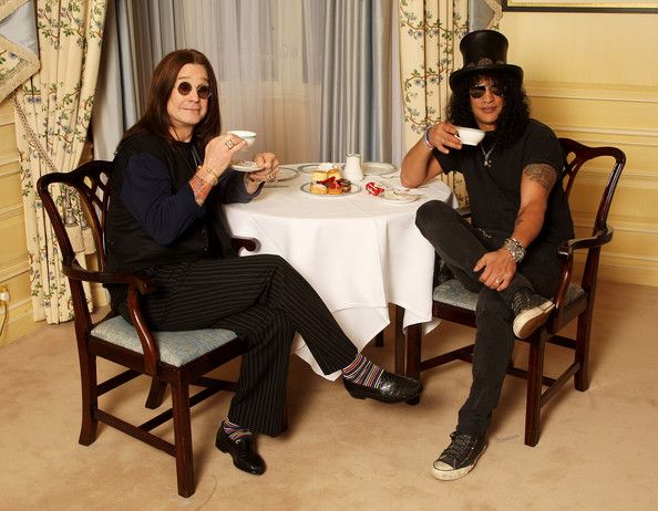 Ozzy Osbourne and Slash have high tea on November 03, 2008 in London, England.