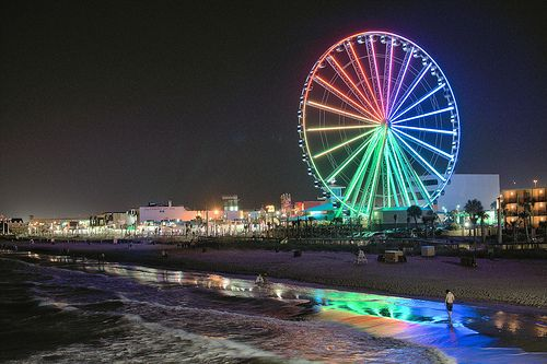 "Myrtle Beach, SC ""Sky Wheel"" - 187 ft. into the sky and 200 ft. above sea level. Currently the tallest ferris wheel on the east coast."