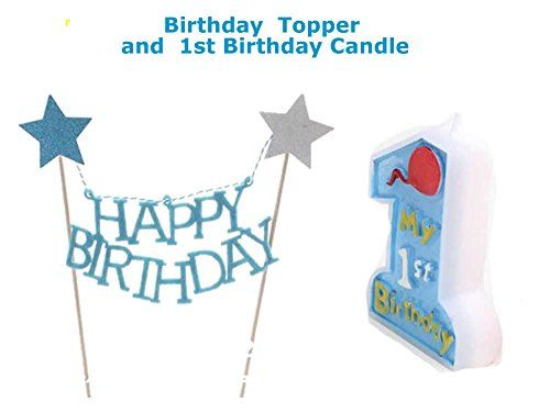 Blue Baby First Birthday Cake Topper and Candle 1st One Birthday Supplies for Boys * To view further for this item, visit the image link.