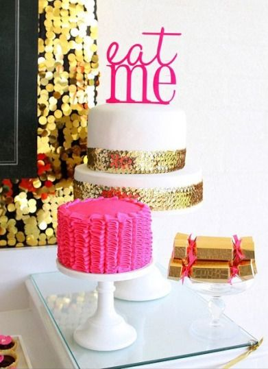 gold and white glitter wedding cake