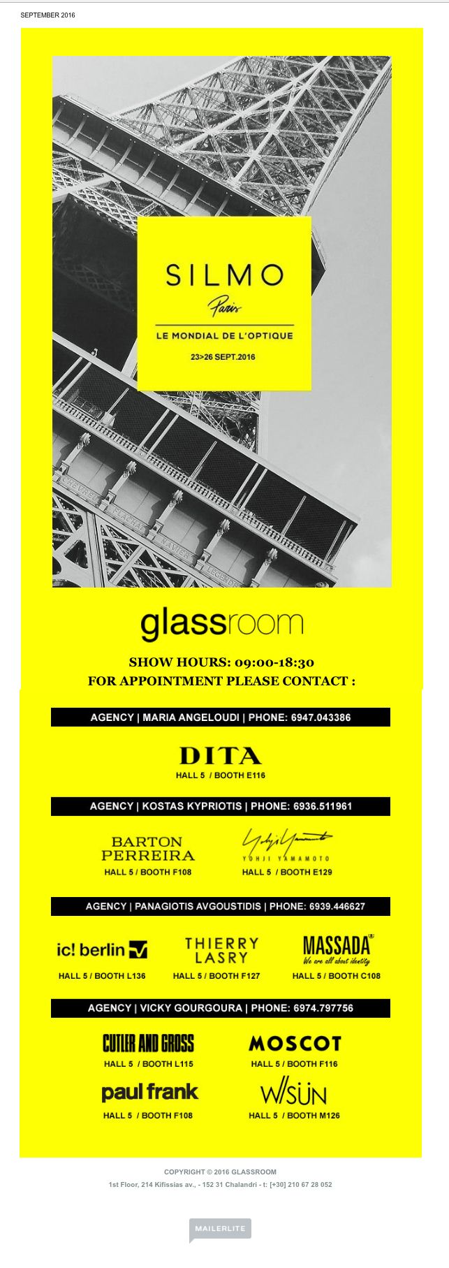 Glassroom Newsletter design (Silmo 2016 )