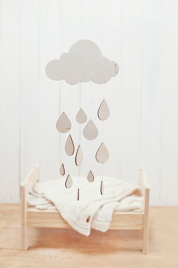 READY TO SHIP Rainy day baby mobile  / Nursery mobile / Baby crib mobile / Wooden mobile on Etsy, $40.81
