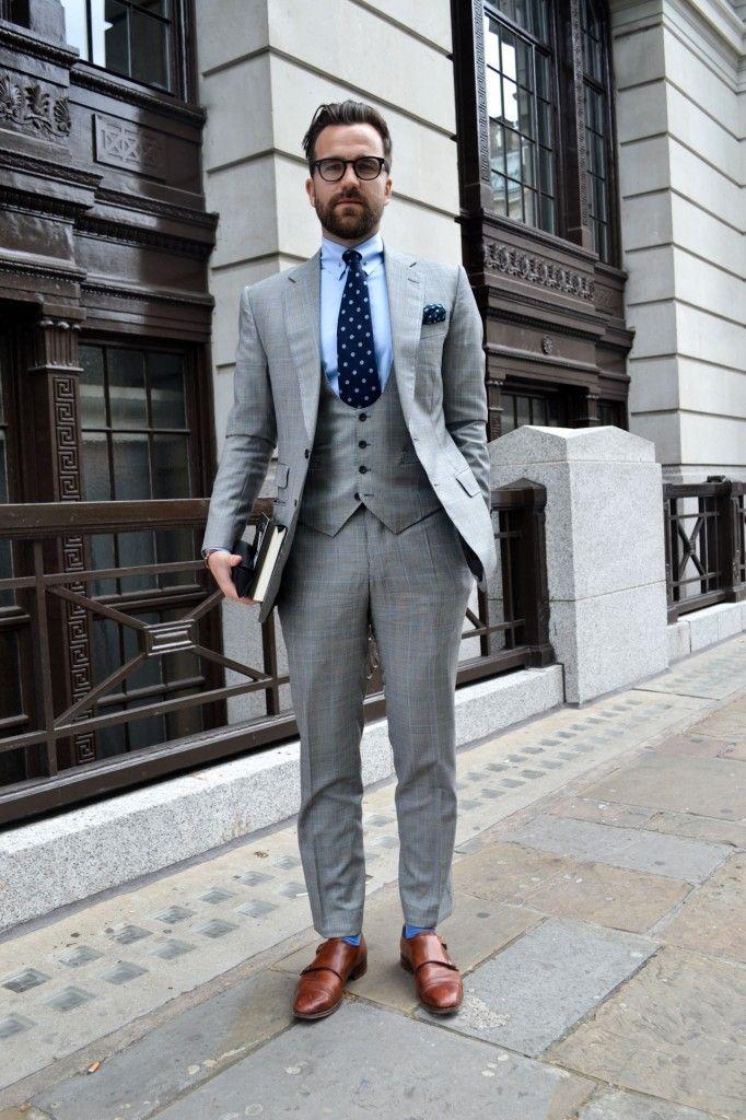 grey 3 suit pocket square printed tie brown shoes