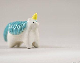 Little Turquoise Unicorn - Terrarium Figurine - Miniature Ceramic Porcelain Animal Sculpture - Hand Sculpted