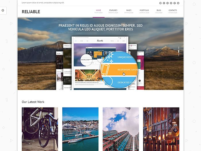 Reliable is responsive Bootstrap template Layout Bootstrap 3.2 HTML 5 / CSS 3 Retina Display Ready Vector Icon Fonts Elegant and