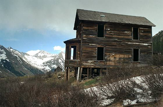 At the ghost town of Animas Forks, located in the heart of the San Juan Mountains between Silverton, Ouray, and Lake City, Colorado.