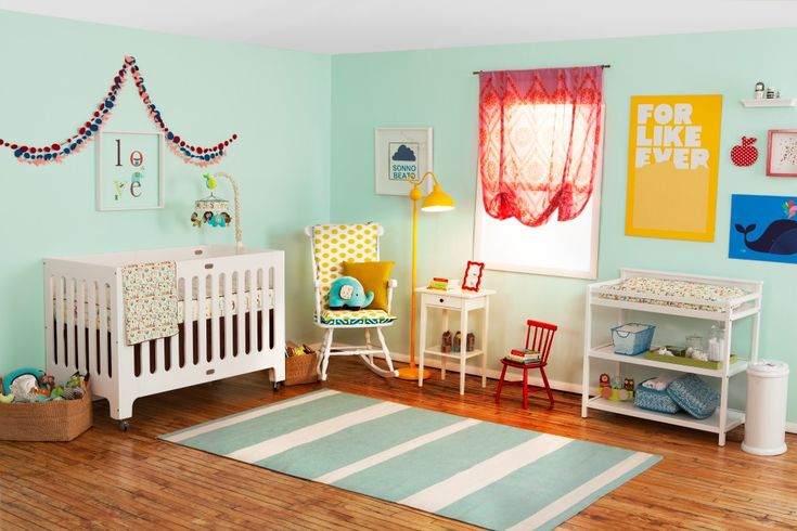 This nursery from @Joni Lay / Lay Baby Lay is such a bright and happy space! #nurseryWall Colors, Skiphop, Skip Hop, Projects Nurseries, Alphabet Zoos, Lay Baby Lay, Nurseries Design, Room, Baby Nurseries