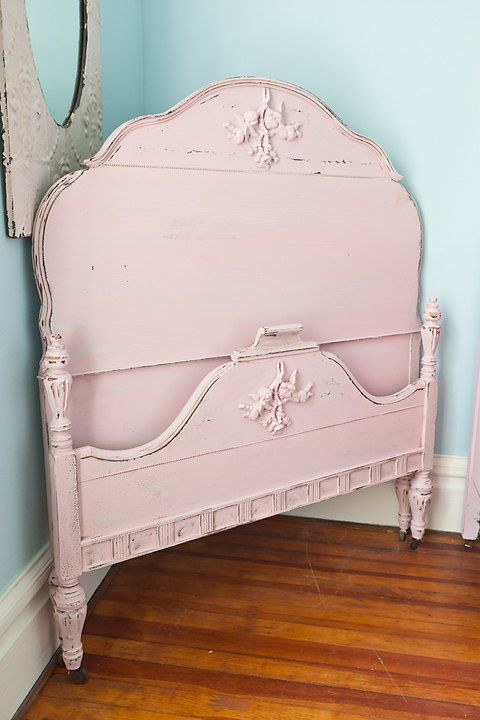 pink shabby chic distressed antique twin by VintageChicFurniture, $495.00