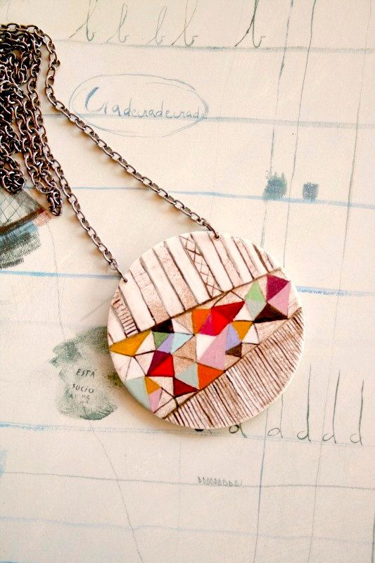 Hand painted geometric pendant  one of a kind 02 by vickygonart, $36.00