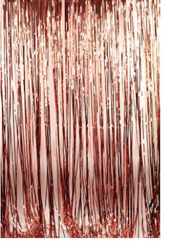 2 Rose Gold Fringe Curtain Metallic Tinsel Foil Fringe Curtains