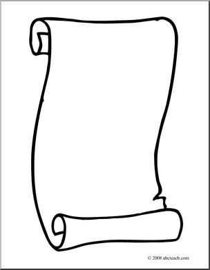 Clip Art: Scroll 3 (coloring page) | abcteach