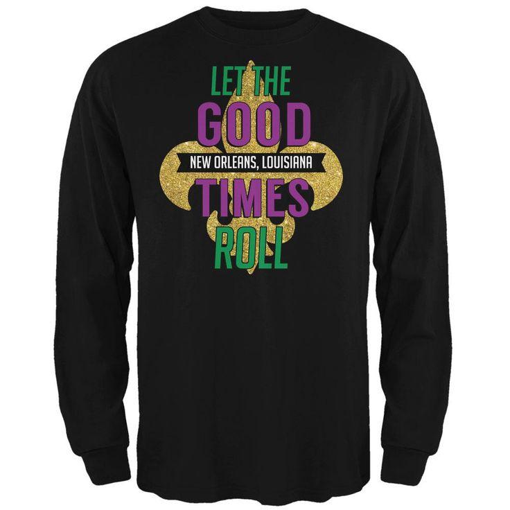 Mardi Gras Let the Good Times Roll Black Adult Long Sleeve T-Shirt