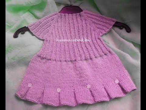 dikişsiz volanlı örgü bebek elbisesi(elbise yapmak istemeyen erkek çocuk...