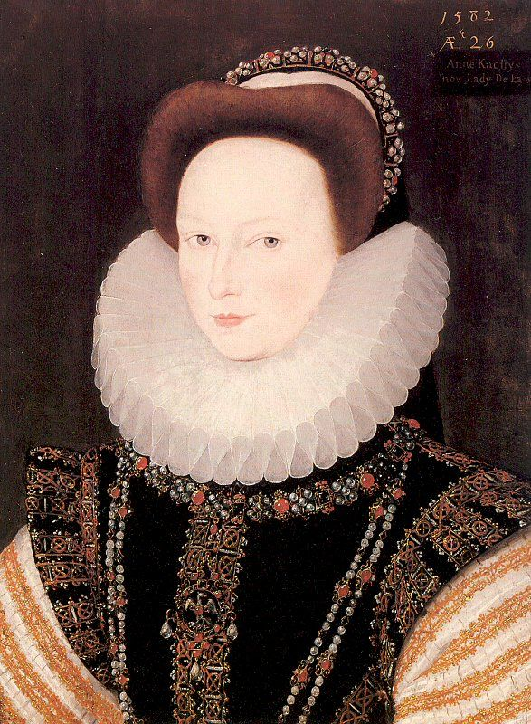 Anne West, Lady De La Warr (née Knollys) (19 July 1555 – 30 August 1608) was a lady at the court of Queen Elizabeth I of England. Her maternal grandparents were Sir William Carey and Mary Boleyn. Mary was a sister of Anne Boleyn, second wife of Henry VIII of England. Anne Knollys' mother was thus a first cousin of Queen Elizabeth, daughter of Anne Boleyn and Henry VIII.