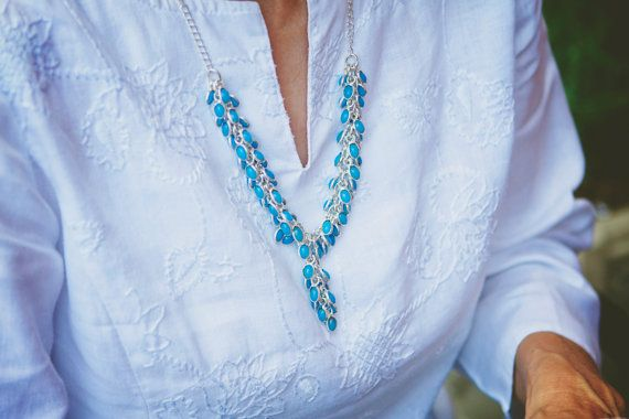 Bead Necklace Blue Necklace Light blue necklace by LaMirraFashion, $14.45