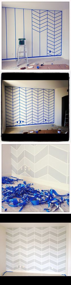 chevron wall (by megan ganz)...use this method for a canvas así es que quiero pintar mi cuarto. Me encanta!!!