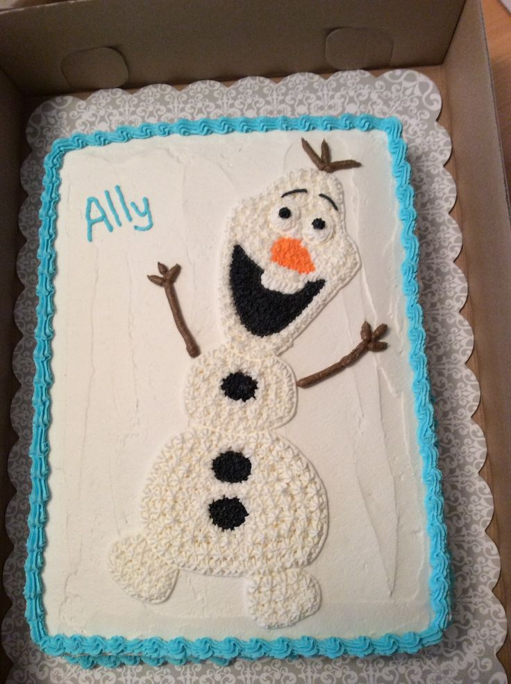 Olaf cake diy. Frozen birthday. I made this in an 11 x 15 pan.
