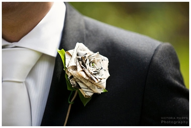 Beautiful paper rose buttonhole for your groom on your wedding day