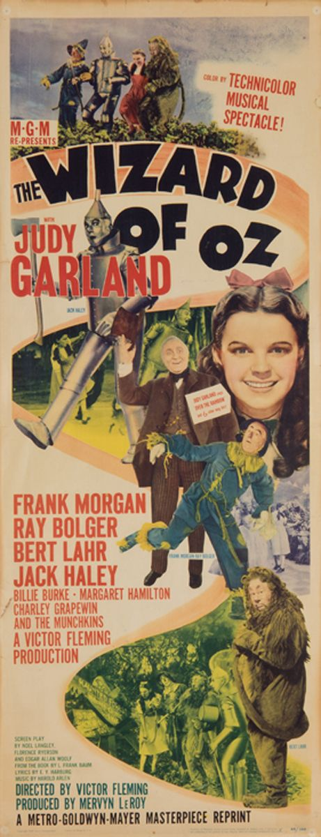 "Vintage movie poster for the 1949 re-release of ""The Wizard of Oz"" starring Judy Garland as Dorothy"