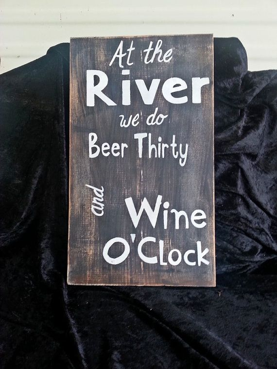 At the River sign outdoor decor summer house Beer by kpdreams