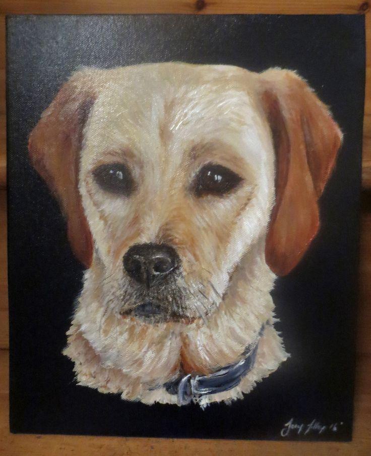 Acrylic dog portrait, A4, by Joey Tilley 2016