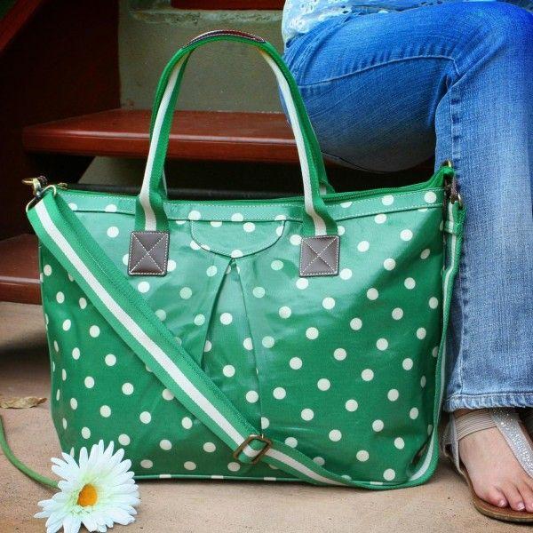 For Her: Megan Bag - Forest Green Spot   #oilcloth #totebag #forestgreen