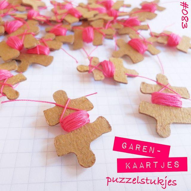 Inspiration: puzzle piece yarn cards. Draad op oude puzzelstukjes.