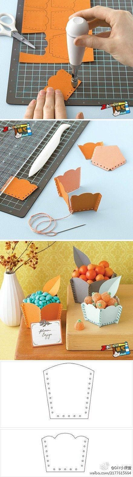 Détournement papier + perforatrice + fil de coton : en petit pot de déco: