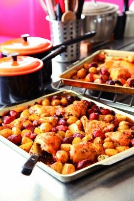 Spanish Chicken with Chorizo and Potatoes: Much as I love to have a pan bubbling away on the stove, I often feel that the most stress free way to feed people is by taking the oven route. When I'm frazzled, I firmly believe that the tray-bake is the safest way to go. Enjoy the easefulness of the oven: you just bung everything in, and you're done. I