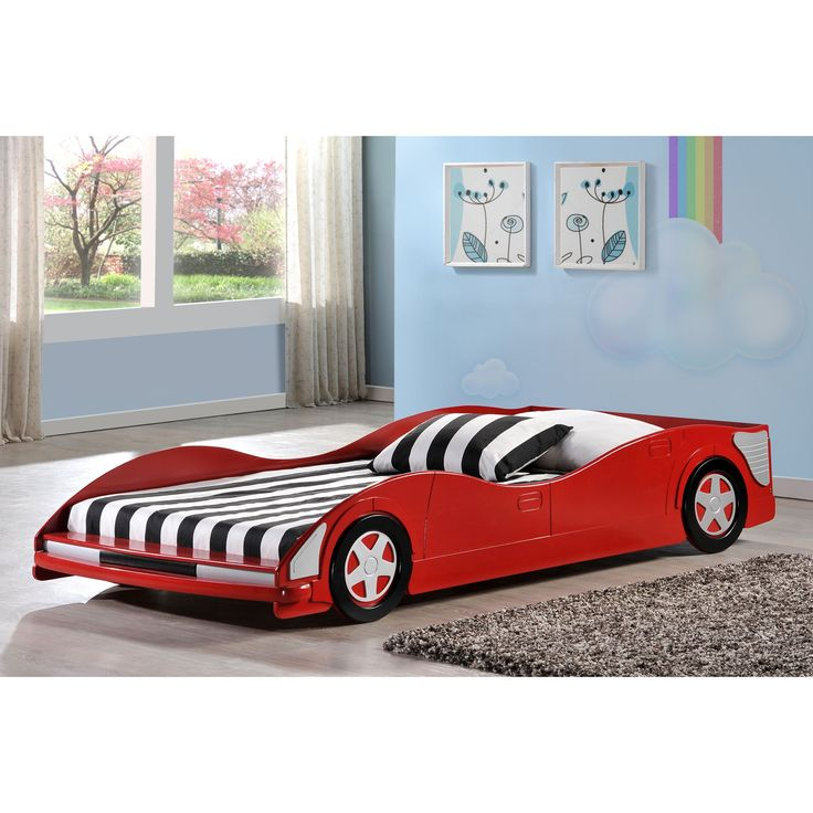 Your child will want to race to bed in this race car twin bed. It has a red finish with cool black and silver wheels to ensure that bedtime will become an exciting event, and because it's made from MDF, it's sturdy enough to last as long as you need it.