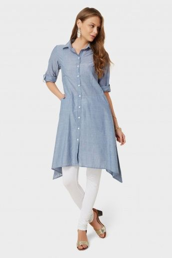 BIBA Asymmetrical Button Up Kurti