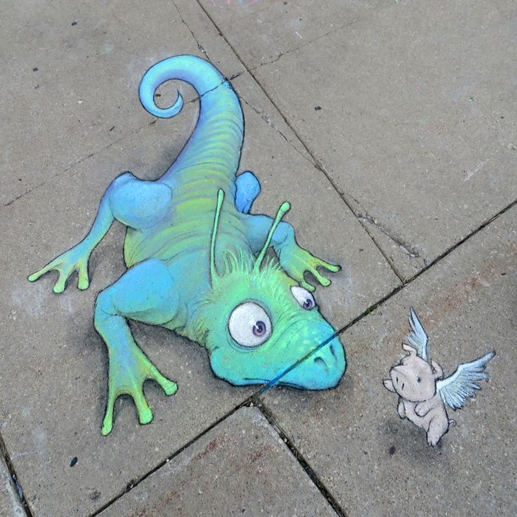 Among their many skills, flying pigs are good at offering directions to bewildered reptiles. Ann Arbor Summer Festival: Top of the Park, Michigan (July 6, 2014) - street art by David Zinn