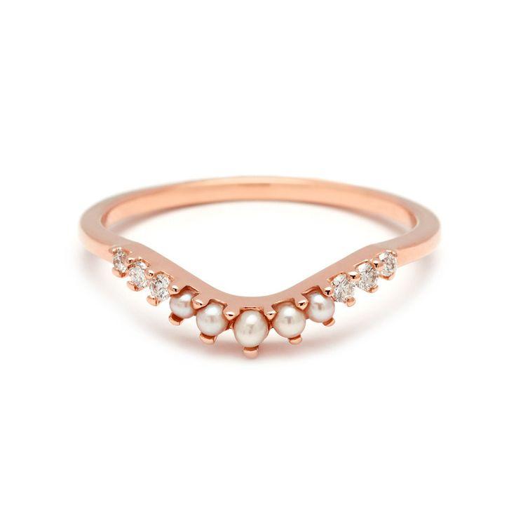 Unique Petit Rose Gold Pearl And Diamond Tiara Curve Bridal Band – Anna Sheffield Jewelry