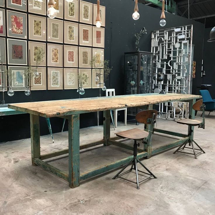 large industrial painted work table