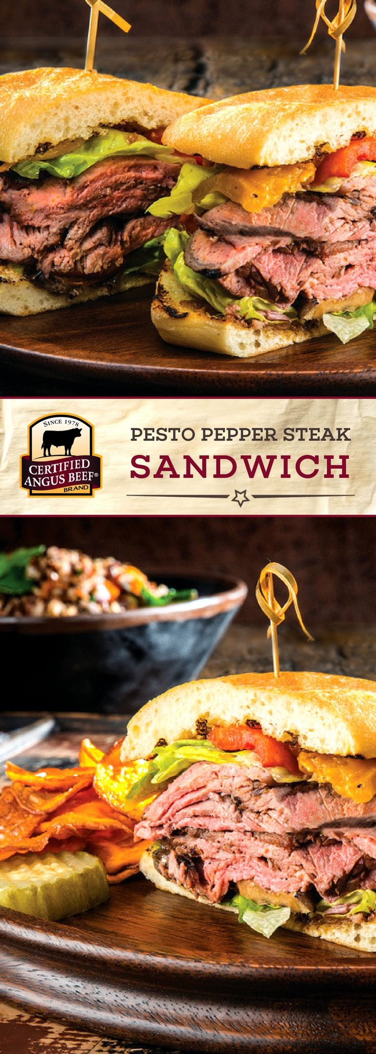 Certified Angus Beef®️ brand Pesto Pepper Steak Sandwich is a SHOW STOPPER of a sandwich! The best strip roast is brushed with olive oil and generously seasoned, then thinly sliced along with eggplant, roasted red peppers, goat or cream cheese, and a TASTY fig spread! Put it all on a ciabatta or hoagie bun for an UNBEATABLE sandwich recipe.