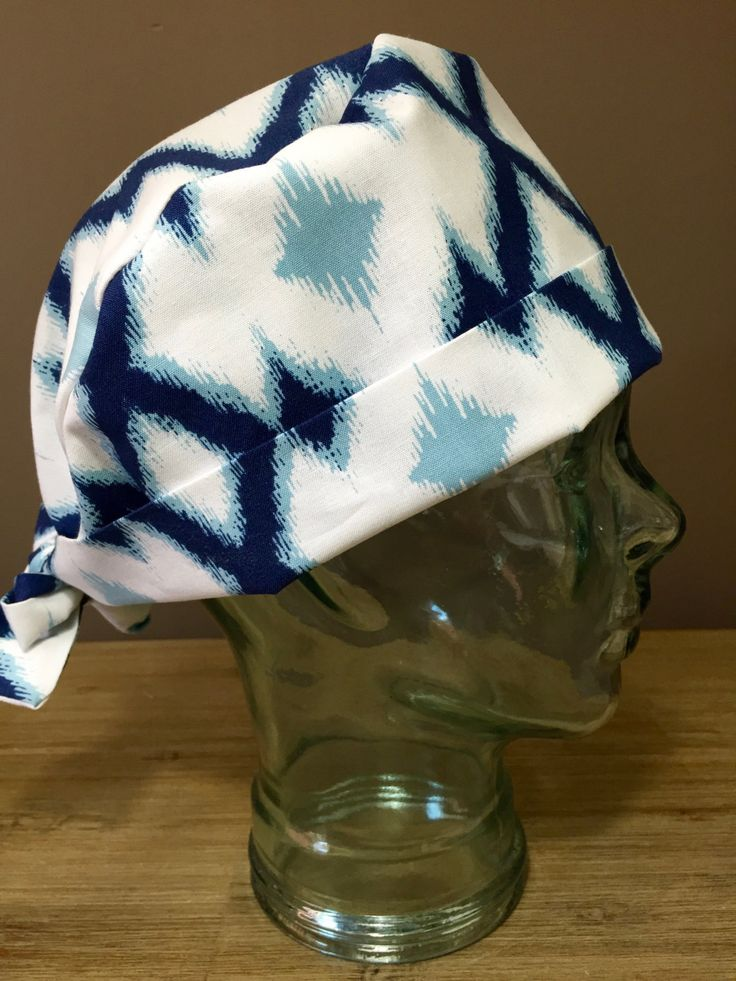 Blue Triangle Abstract Design Surgical Scrub Hat, Women's Navy Pixie Scrub Hat, Custom Caps Company by CustomCapsCompany on Etsy