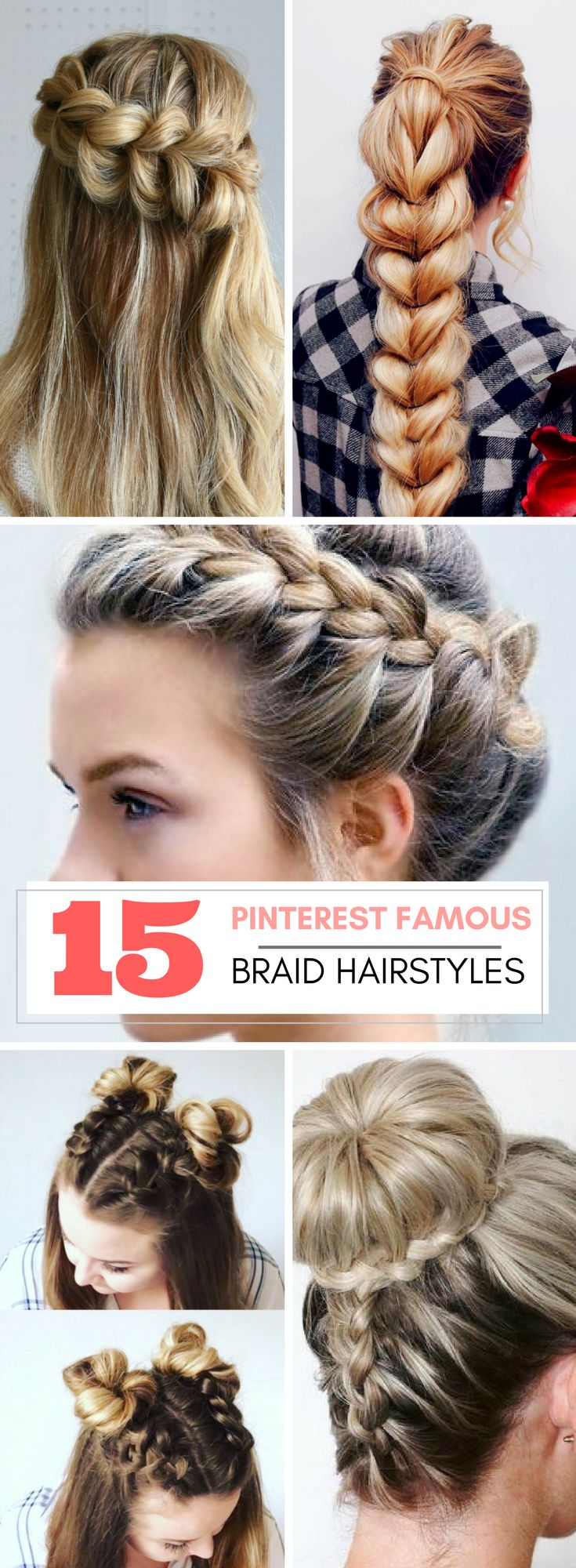 Pinterest famous braid hairstyles including dutch braid, french braid, crown braid, bubble braid, and so much more. Tips and tricks for braid hairstyles, tutorials for braid hairstyles that will make you a braiding master!