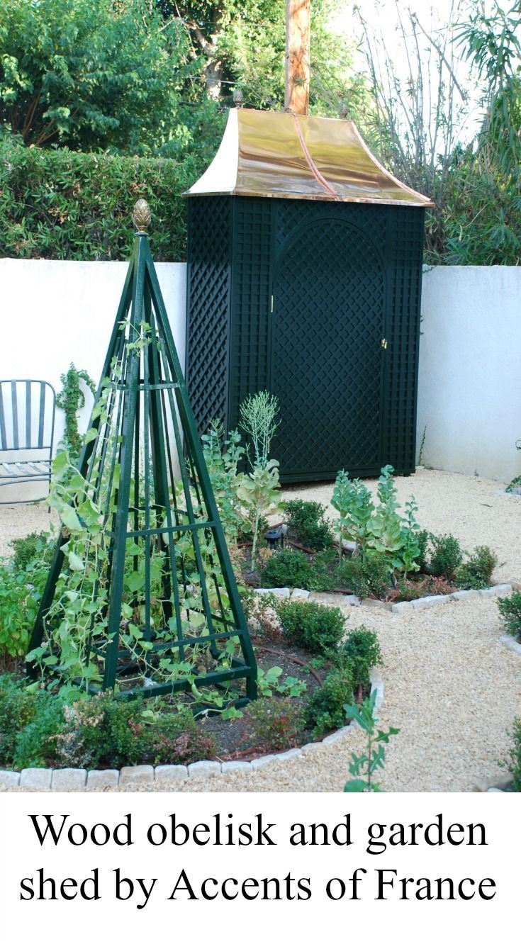 Garden Obelisk In Wood And Shed With Lattice By Accents Of France