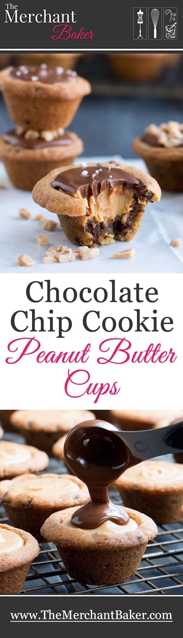 Chocolate Chip Cookie Peanut Butter Cups. Chocolate chip cookie cups filled with a creamy peanut butter filling and topped with melted chocolate. #cookiecupsrecipe #chocolatechip #peanutbutter #cup #cookies