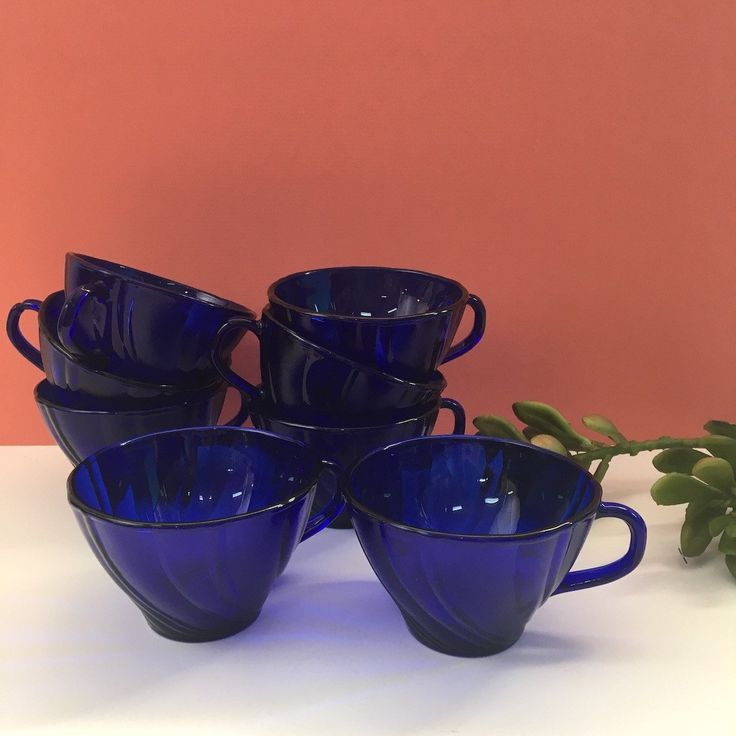 Duralex Rivage cobalt blue swirl tea coffee cups from France - set of 8 - 1970s